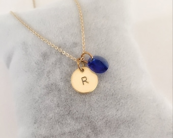 Birtstone necklace, gold initial necklace, birthday gift, anniversary gift, necklace for women, christmas gift, bridesmaid gift, birthstone