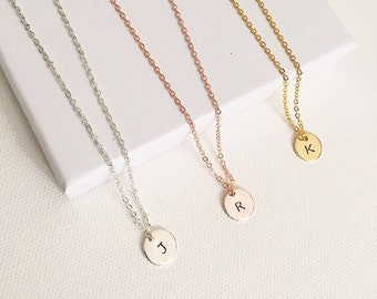 initial necklace, hand stamped necklace, initial jewellery, personalised necklace, minimalist necklace, monogram necklace, gifts for her