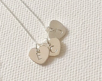 Sterling silver necklace, triple initial necklace, heart necklace, personalised gifts, birthday gift, christmas gifts for mom, family gift