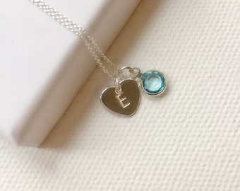 Birthstone necklace, birthday gift, initial and birthstone, personalised necklace, sterling silver, gift for women, best friend gift, heart