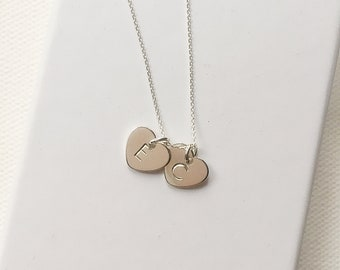 Sterling silver necklace, double initial necklace, personalised necklace, gift for couple, gift for women, necklace, gift for mum, heart