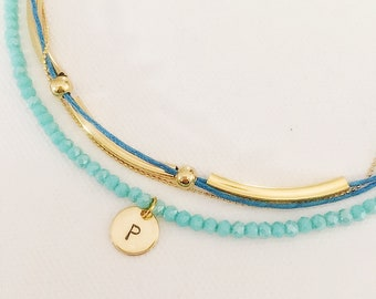 Personalised necklace, Turquoise gemstone necklace, initial necklace, gift for women, gift for her, necklace for women, gifts anniversary