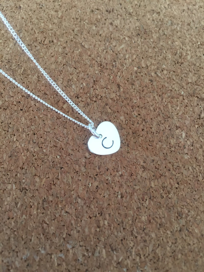 heart necklace bridesmaid gift birthday gift gift for her Sterling silver gift gift for women initial necklace Personalised necklace