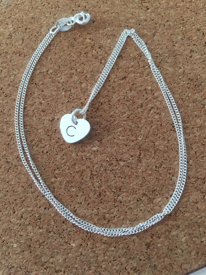 bridesmaid gift hand stamped jewellery Sterling silver initial necklace gift necklace personalised initial necklace personalised gift
