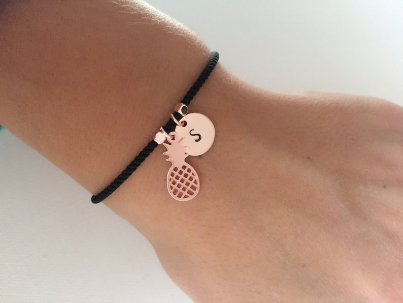 gift for women charm bracelet Personalised bracelet initial bracelet friendship bracelet gift for her personalized pineapple charm