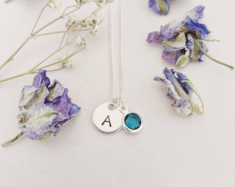 Personalised, Silver necklace, initial, birthstone necklace, valentines gift for her, initial necklace, February birthstone, Amethyst, gift