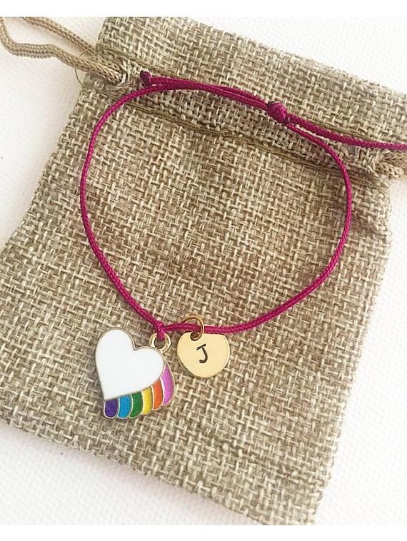 1f00c0ffa9663 Rainbow heart charm, initial bracelet, personalised bracelet, charm  bracelet, gift for kids,friendship bracelet, kids bracelets, teenage
