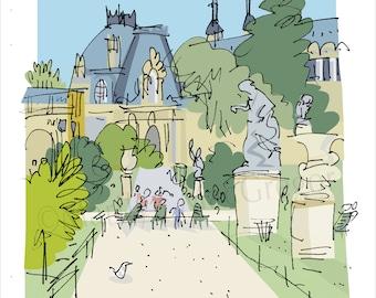 Paris: Tuileries Gardens Path fine art print in 2 sizes