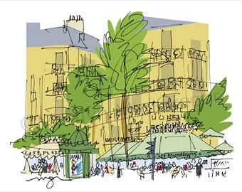 Paris: St Germain Cafes fine art print in 2 sizes
