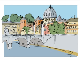 Rome: Tiber View of the Vatican fine art print in 2 sizes