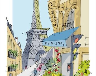 PARIS Eiffel Tower Fleurs fine art print in 2 sizes