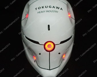 Custom LED Metal Gear Solid Gray Fox Helmet Mask Halloween Costume Cosplay M203