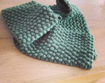 Crochet Merino Wool Green Scarf