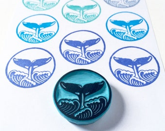 Whale Tail and Waves hand carved rubber stamp, handmade by cassastamps