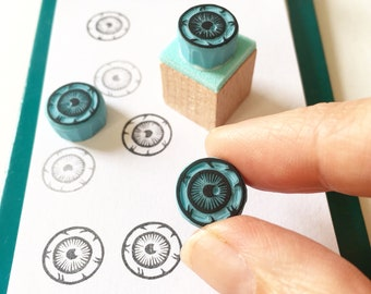 Eyeball mini rubber stamp, cute and creepy little eye, hand carved stamp for your journal stampings by Cassastamps