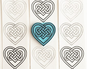 Celtic Heart Knot rubber stamp, Eternity and Love meaning, Hand carved stamp.