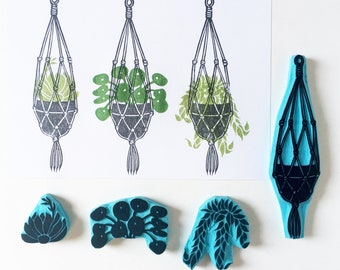 Rubber Stamps of a Macrame Plant Hanger and plants, individual plants or set. Hand carved stamps. Cassastamps