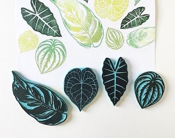 Leaf Rubber Stamps, Hand Carved Stamps of Leaves, Indoor plants, Cassastamps