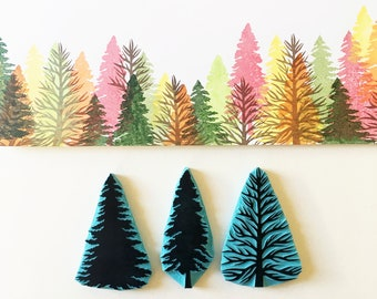Pine Tree Rubber Stamp for card making, Pine tree Silhouette for Christmas decoration