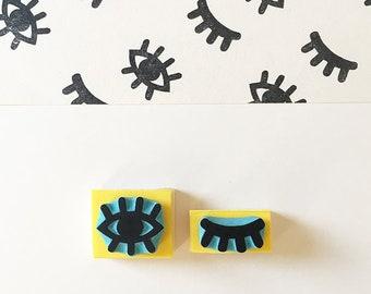 Eye rubber stamp, hand carved, eye stamp, wink eye stamps, cassastamps