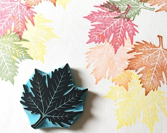 Autumn Leaf Stamp, Rubber Stamp, Hand Carved, Fall Decor, Autumn Wedding, Falling Leaves