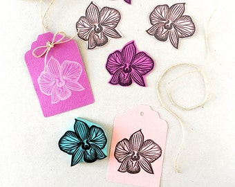 Orchid rubber stamp, hand carved flower, stamping supply, wedding decor