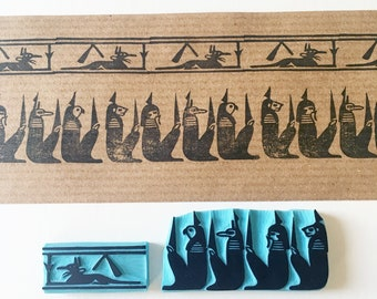 Egyptian Art Hand Carved Rubber Stamps, Egyptian border decor, Book of the Dead