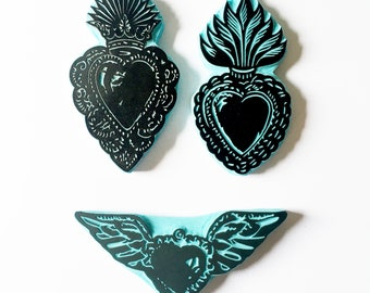Sacred Heart Rubber Stamps, Mexican Art, Winged Sacred Heart, Valentine, Hand carved stamps