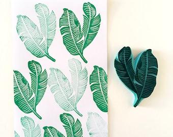 Banana Leaf Rubber Stamp, Hand Crafted Tropical Stamp, CassaStamps