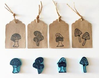 Mushrooms Rubber Stamps, Autumn Decoration, Hand carved stamp, CassaStamps
