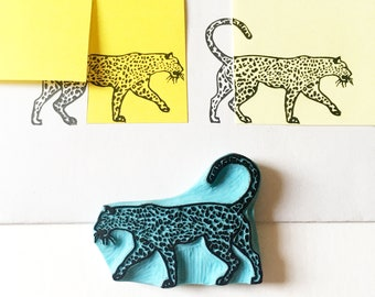 Leopard rubber stamp, hand carved stamp of a leopard to make tropical illustrations