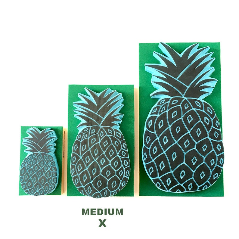 Pineapple stamp, MEDIUM size rubber stamp, hand carved, tropical decor, DIY  ideas, ananas