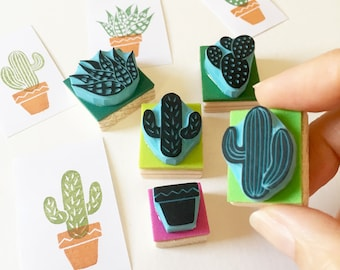 Cactus Rubber Stamps,  Desert Cactus Stamp with Plant Pot, Set of 5 Stamps or Individual Stamps, Hand Carved Stamps, CassaStamps.
