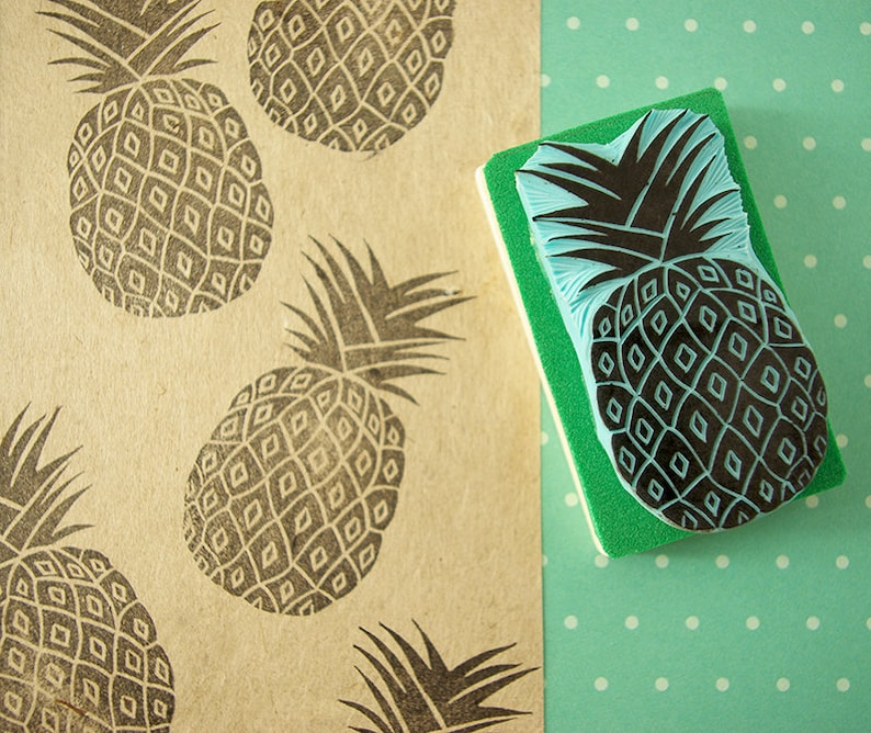 Pineapple rubber stamp, hand carved, tropical stamp, summer decor, DIY  ideas, pineapple