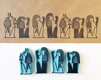 Egyptian Rubber Stamps from the Book of the Dead, Hand Carved Stamps by Cassastamps
