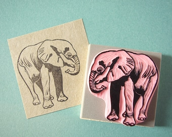 Baby Elephant rubber stamp, hand carved stamp, charity item, save the elephants, African elephant, orphan Ngilai, DSWT