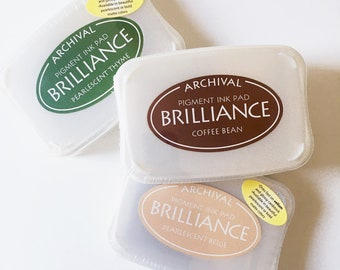 Brilliance ink pads, pearlescent pigmented ink, rubber stamping, Archival ink, craft supply