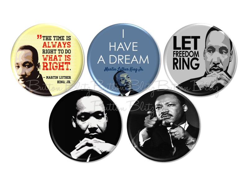 "12 MARTIN LUTHER KING Buttons 1/"" Badges Pinback Pins One Inch MLK Black History"