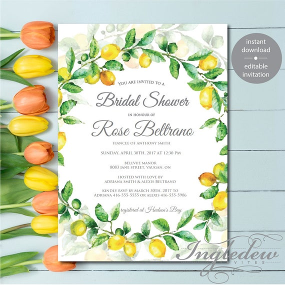 lemon bridal shower invitation digital download bridal etsy