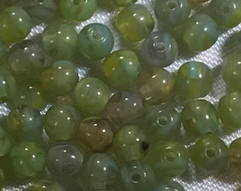 Loose Round Beads~4MM~Hurricane Glass~Rainforest Moss~100PC