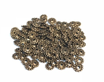 Copper Spacer Beads, Spacer Beads, Gear Beads, Jewelry Making Supplies, 100PC