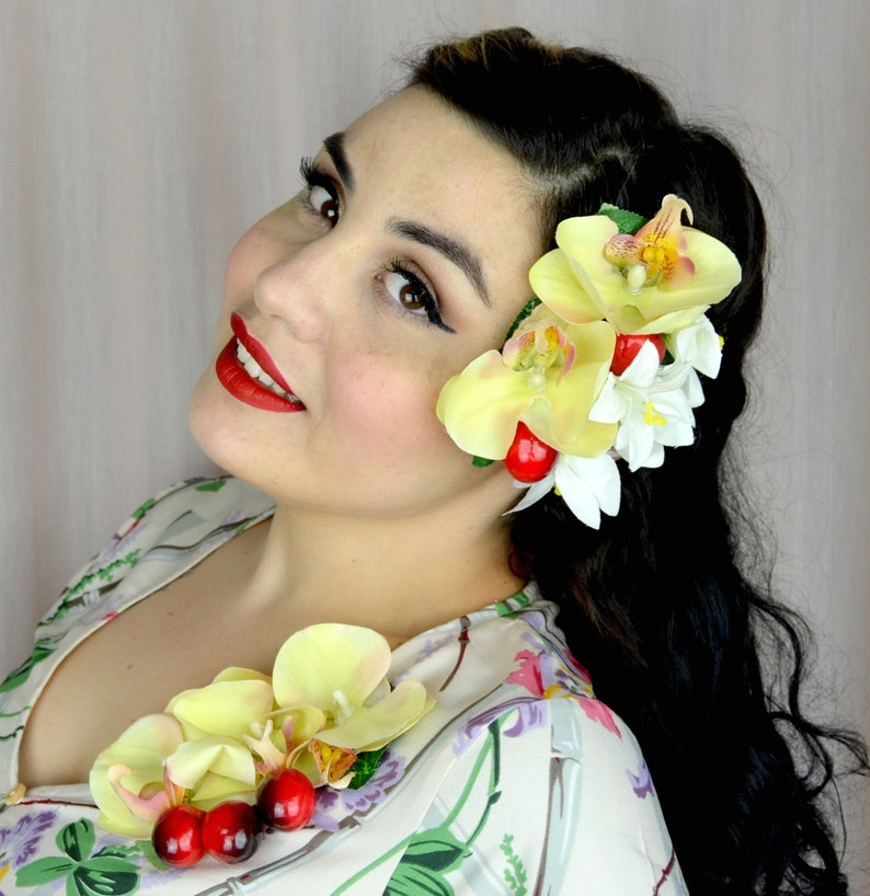 1940s Hairstyles- History of Women's Hairstyles Vintage 1940s & 50s Style Headpiece Corsage with orchids lilies and cherries - rockabilly pinup repro accessories $13.96 AT vintagedancer.com