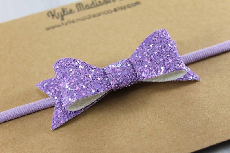 Purple bow headband purple glitter bow