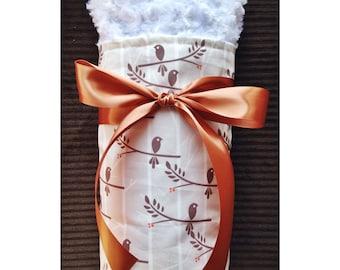 Baby Blanket- Gorgeous Designer Bird Baby Blanket Featuring Flannel, Plush Minky