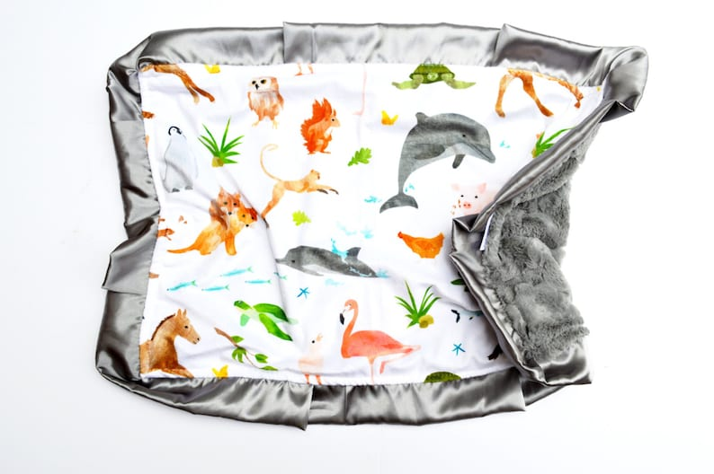 Gorgeous Watercolor Zoo Animal Farm Animals Blanket Featuring Cotton and Plush Baby Blanket