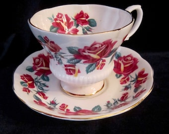 Royal Albert Bone China Tea Cup & Saucer  - Wine Red and Yellow Roses - England