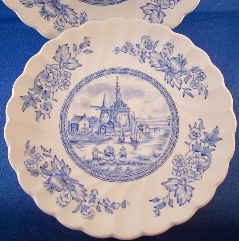 5.5 Inch - White Background 2 Johnson Brothers Tulip Time Blue Saucers Vintage English China