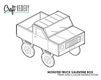 truck book etsy 1970 C20 Chevy Truck monster truck valentine box instructions digital art file print and color