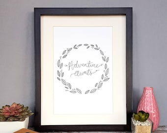 Adventure Awaits   Hand-lettered Print   Home Decor   Bon Voyage   Moving   Gift
