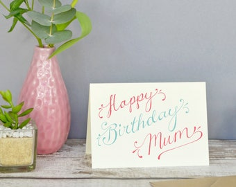 Hand-lettered 'Happy Birthday' Card. Free customisations!